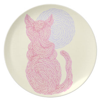 Red Cat And The Moon Fun Art Dinner Party Plate
