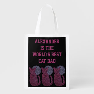 Red Cat And The Moon Personalized Best Cat Dad Grocery Bags
