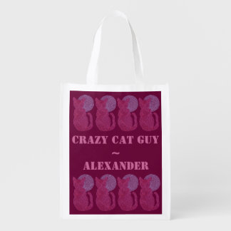 Red Cat And The Moon Personalized Crazy Cat Guy Market Totes