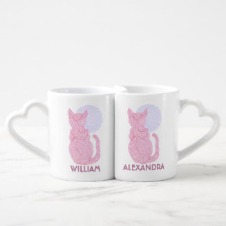 Red Cat And The Moon Personalized Nesting Mugs Set