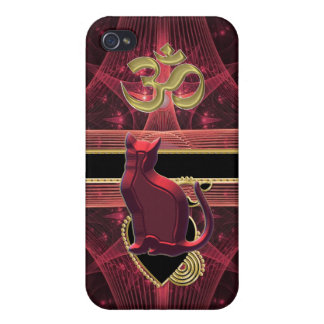 Red Cat Gold OM Perched on a Heart Wondering iPhone 4/4S Cover