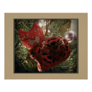 Red Cat Ornament Print