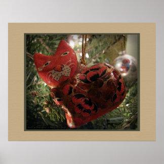 Red Cat Ornament Print