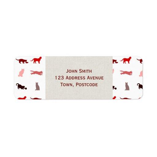 Red Cat pattern Custom Return Address Labels