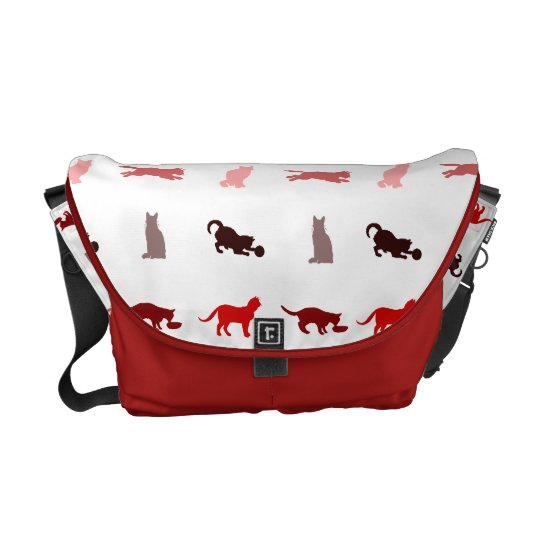 Red Cat pattern Messenger Bag