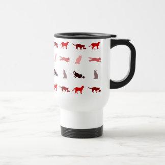 Red Cat pattern Travel Mug