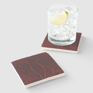 Red cat silhouette stone coaster