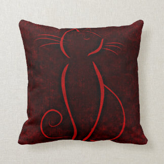Red cat silhouette throw pillow