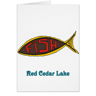 red cedar fish in fish stationery note card