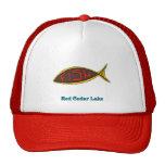 red cedar fish in fish mesh hat