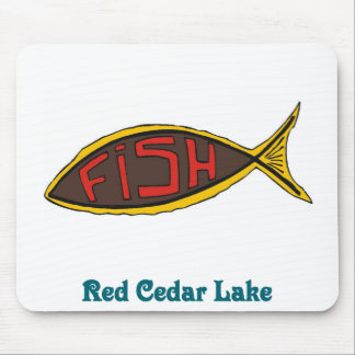 red cedar fish in fish mouse pad