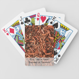 Red cedar mulch with debris bicycle playing cards