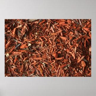 Red cedar mulch with debris poster