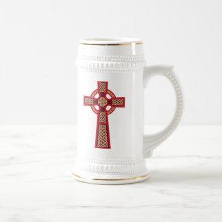 Red Celtic Cross Beer Stein Mug