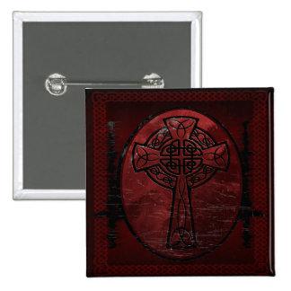 Red Celtic Cross 2 Inch Square Button