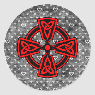 Red Celtic Cross Distressed Background Classic Round Sticker