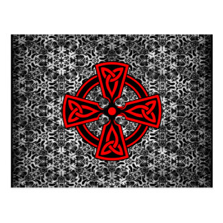Red Celtic Cross Distressed Postcard