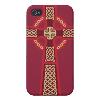 Red Celtic Cross iPhone 4 Case