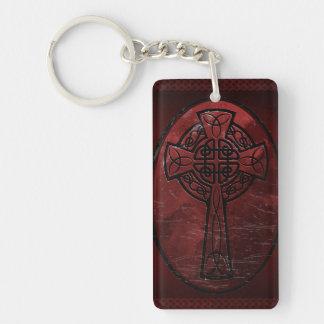Red Celtic Cross Double-Sided Rectangular Acrylic Keychain
