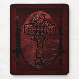 Red Celtic Cross Mouse Pad