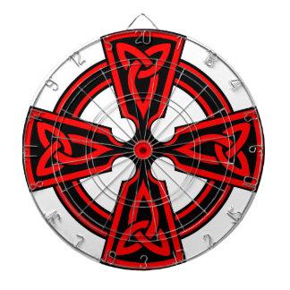 red celtic cross saxon viking wicca pagan dartboard with darts