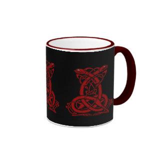 Red Celtic Dog Knotwork Ringer Mug