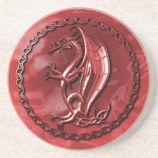 Red Celtic Dragon Drink Coaster