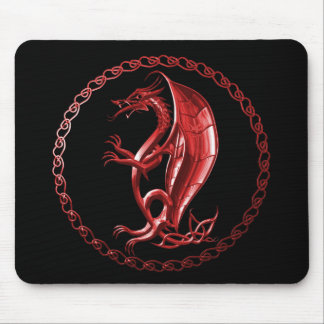 Red Celtic Dragon Mouse Pad