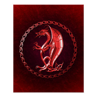 Red Celtic Dragon Posters