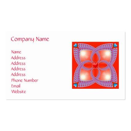 Red Celtic Heart Fractal Pattern Business Cards