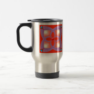 Red Celtic Heart Fractal Pattern Coffee Mugs