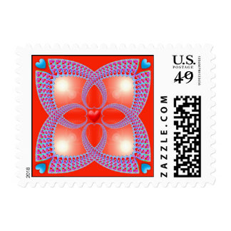 Red Celtic Heart Fractal Pattern Postage