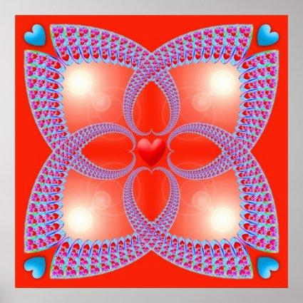 Red Celtic Heart Fractal Pattern Poster