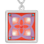 Red Celtic Heart Fractal Pattern Silver Plated Necklace