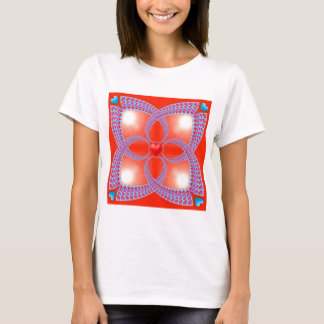 Red Celtic Heart Fractal Pattern T-Shirt