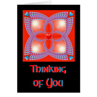Red Celtic Heart Fractal Pattern Thinking of You Cards