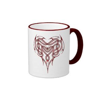 Red Celtic Heart Knot Ringer Coffee Mug