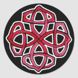Red Celtic Knotwork Circle Classic Round Sticker