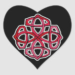 Red Celtic Knotwork Circle Heart Sticker
