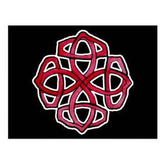 Red Celtic Knotwork Circle Postcard