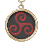 Red Celtic Triskel Triple Spiral in Black and Gold Gold Finish Necklace
