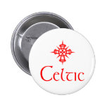 Red Celtic with Cross Pinback Buttons