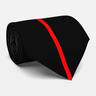 Red Centered Thin Vertical Line on Black Neck Tie