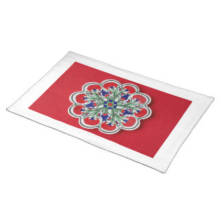 Red ceramic flower Placemat