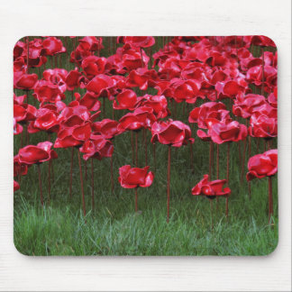 Red Ceramic Poppies Mousepad/Mousemat Mouse Pad