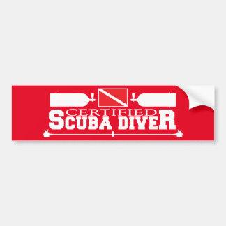 Red Certified Scuba Diver Bumper Sticker