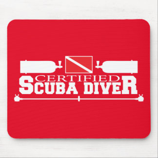 Red Certified Scuba Diver Mouse Pad