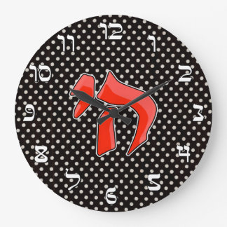 Red Chai Over White Polka Dots on Black Wall Clock