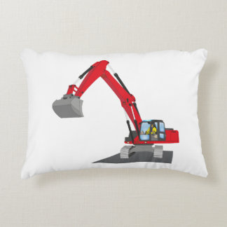 red chain excavator accent pillow