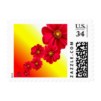 Red Chain of Dahlia Flowers Floral Nature Stamp
